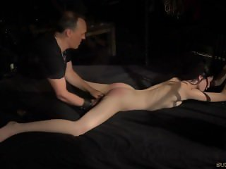 Bondage Teen in Hard BDSM punishment for naughty behavior made to cum