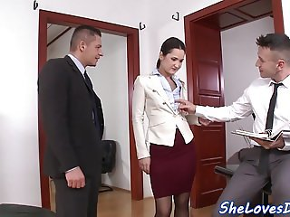 Beautiful eurobabe dp banged in the office