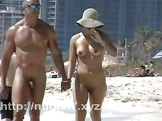 Lovebirds rejoice on a sunny spy beach  hidden cam video