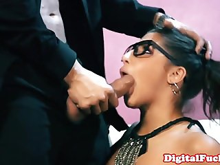Pigtailed spex babe licks cum off her glasses