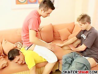 Three twinks spanking each others butts till they turn red