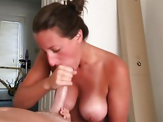 Hot Wife blowjob and Facial