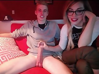 blonde girl and big cock man on webcam