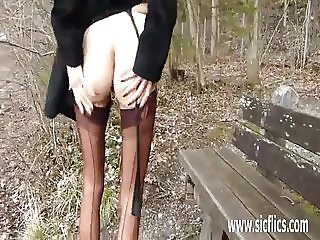Fisting his hot wifes pussy in public
