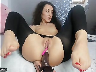 Deep anal dildo and feet