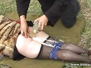 Enema punishment in the forest