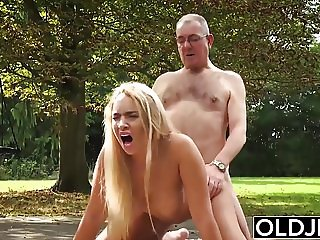 Old and Young Porn - BustyTeen Gets Wet and Sucks Grandpa