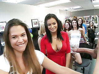 Women Stand In Line To Suck Male Stripper's Cock