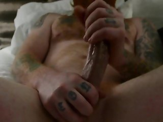 Sexy tattooed man edging after prostate massage