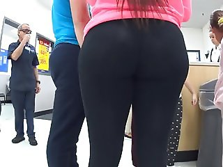 Phat Ass Cuban Teen in Skin Tight See Thru Leggings