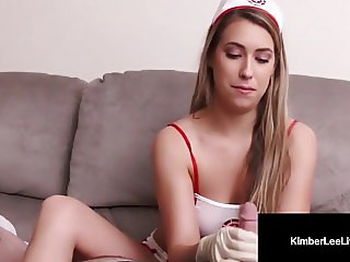 Young Nurse Kimber Lee Wacks You Off With White Latex Gloves