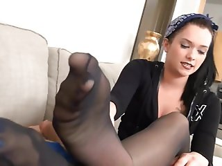 Teen Black Pantyhose Footjob