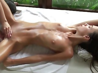 Lesbian Oil Massage with Intense Orgasm