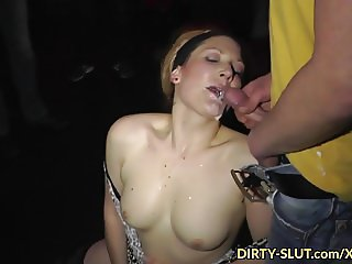 Hot wife Nicole eating cum from plenty of guys