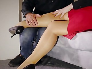 Horny Teacher milf footjob jerks stockings fucking squirt