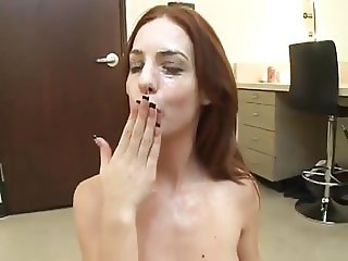 Shy Sucking and Swallowing Cum From 6 Dicks