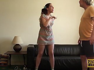 English sub slut punished and facialized by rough dom