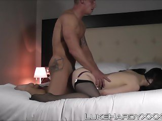 Busty slut assfucked by stud Luke Hardy