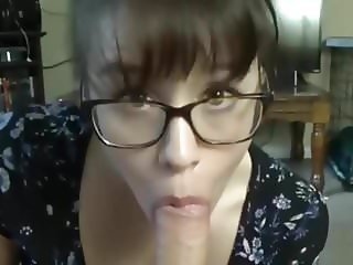 Full lips brunette in get big load on glasses