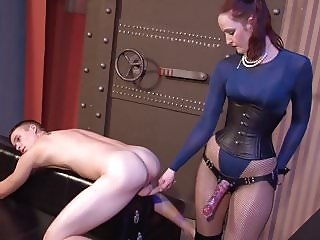 Hot English Lady Pounds Young Man's Ass with Strapon