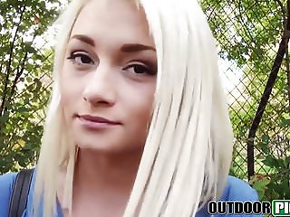 Real teen beaty POV screwed for cash in a public park