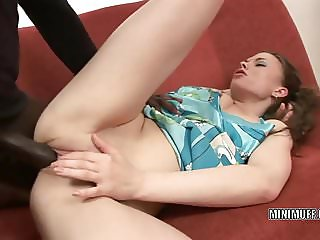 Petite coed Johane Johansson gets nailed with a black cock