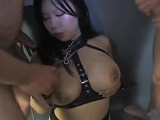 kinky big titted asian nurse  gets bukkake facialized