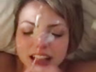Cute Blonde getting a huge facial