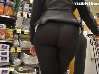 See-through leggings visible thong booty 25