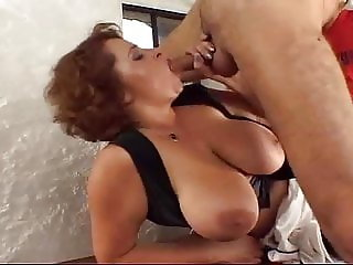 Big tits waitress gets some dicks