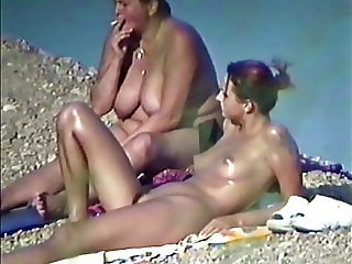 Andrea with Mam Nude on a Beach