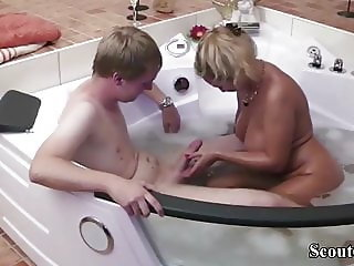 German Mom Help 18yr old Virgin Step-Son with First Fuck