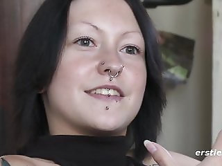Marina with Nose Piercing and Tattoos Masturbation