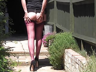 Kinky Milf teases her long nylon clad legs for your worship