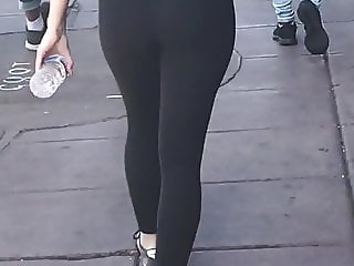 White girl in leggings