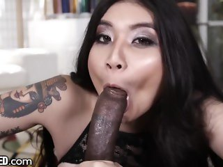 Throated Brenna Sparks Big Black Cock Throatfuck Challenge!