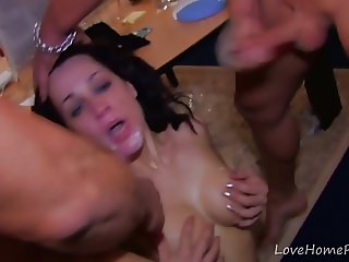 Wild Threesome At The Office At Night.mp4