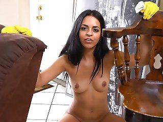 Cleaning lady gives BJ with gloves