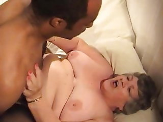 82 year old Grandma Libby takes young black cock