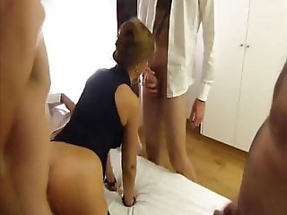 Married French slut spit roasted