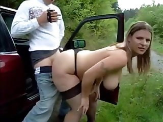 Playful german couple has a nice fuck outdoors