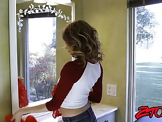 Julia Ann teaches her adorable step daughter to ride cock