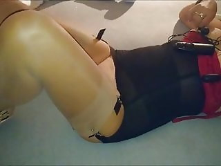 Wife in stockings play with toy, i fuck her and cum on pussy