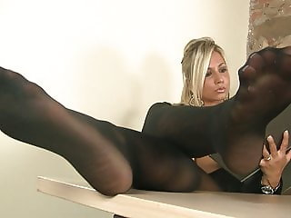 Blonde Secretary in pantyhose puts you under her desk