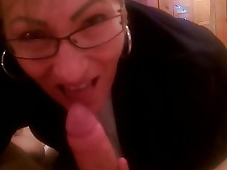 Office granny in business suit sucking me