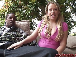 Young blonde fucks black guy in back yard and eats cum