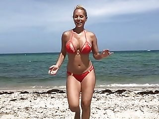 Slow motion milf at the beach