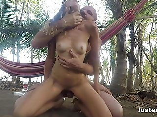 Kinky Couple Fucks Outdoors on Hammock