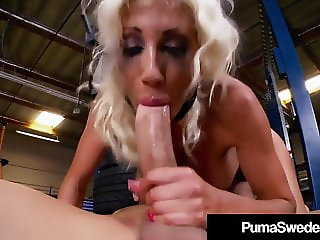 Mechanic Insults Puma Swede While Fucking Her Mouth & Pussy!