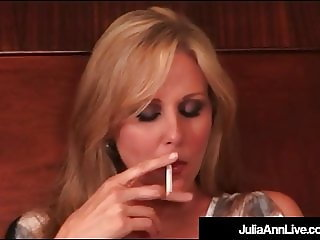 Gorgeous Milf Julia Ann Sucks On Cig & Masturbates In Bed!
